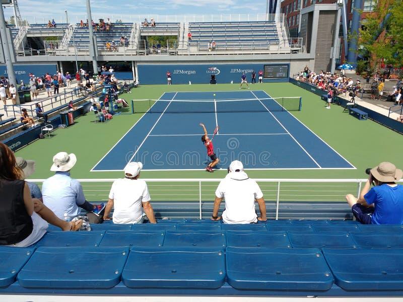 Tennis Players Nicolas Mahut and Soon Woo Kwon, 2017 US Open, NYC, NY, USA stock photography