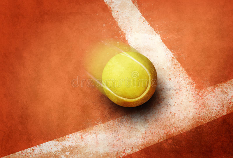 Tennis point. Tennis ball to corner red ground field line stock photos