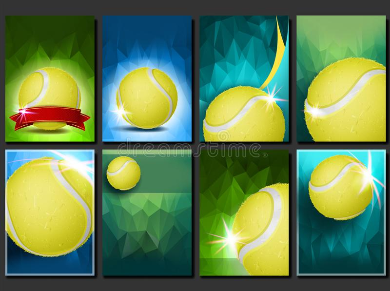 Tennis Poster Set Vector. Empty Template For Design. Promotion. Court, Tennis Ball. Modern Flyer Tournament. Sport Event. Announcement. Banner Advertising vector illustration