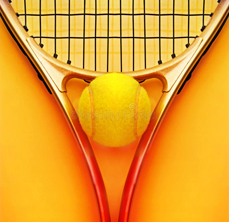 Tennis racket and ball stock photography