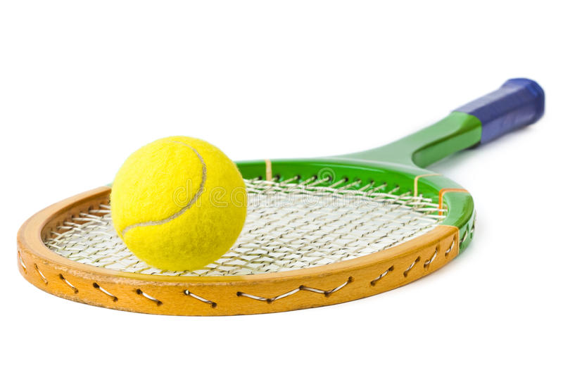 Tennis racket and ball. Isolated on white background stock image