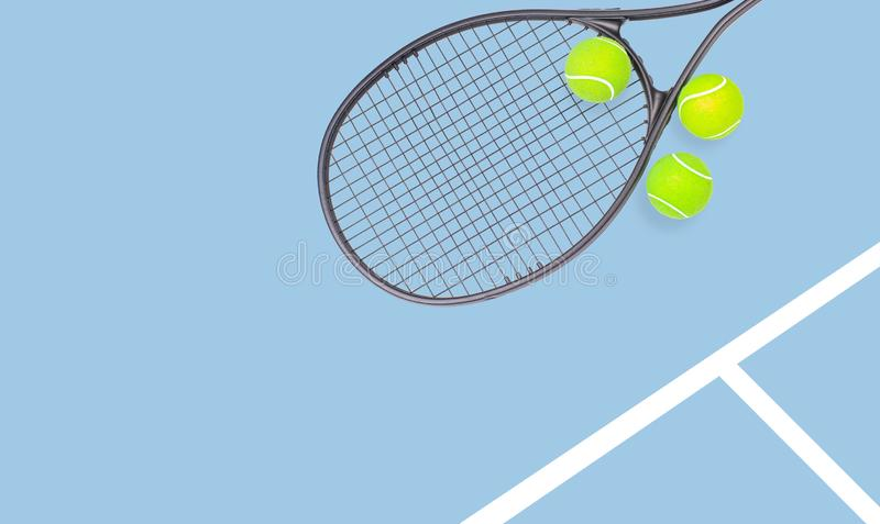Tennis racket and ball sports on pastel background. Tennis racket and ball sports on pastel blue background royalty free stock photos