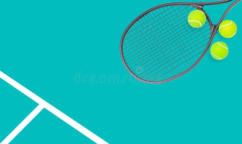 Tennis racket and ball sports on pastel background. Tennis racket and ball sports on pastel green background stock photo