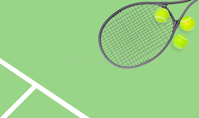 Tennis racket and ball sports on pastel background. Tennis racket and ball sports on pastel green background stock image