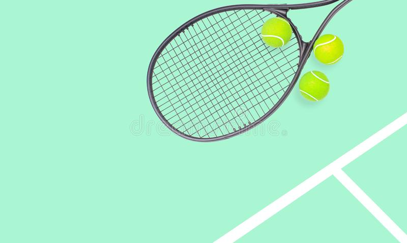 Tennis racket and ball sports on pastel background. Tennis racket and ball sports on pastel green background stock images