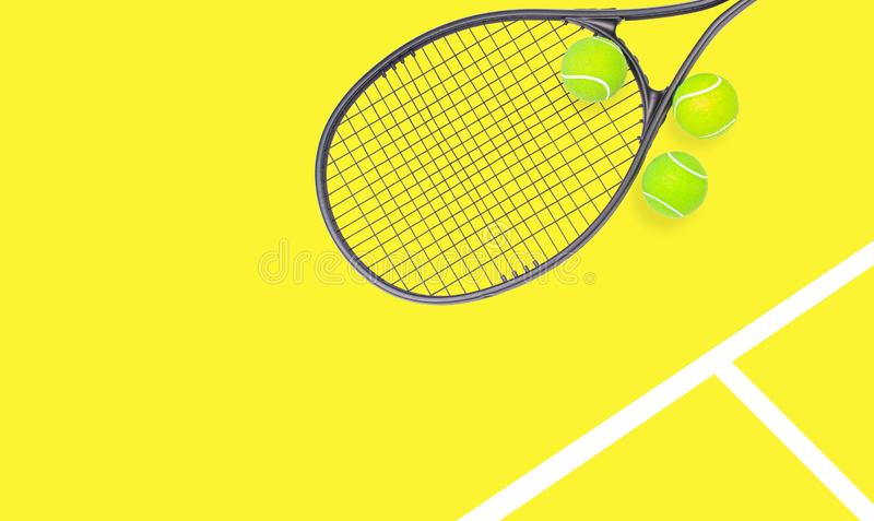 Tennis racket and ball sports on pastel background. Tennis racket and ball sports on pastel yellow background stock photos