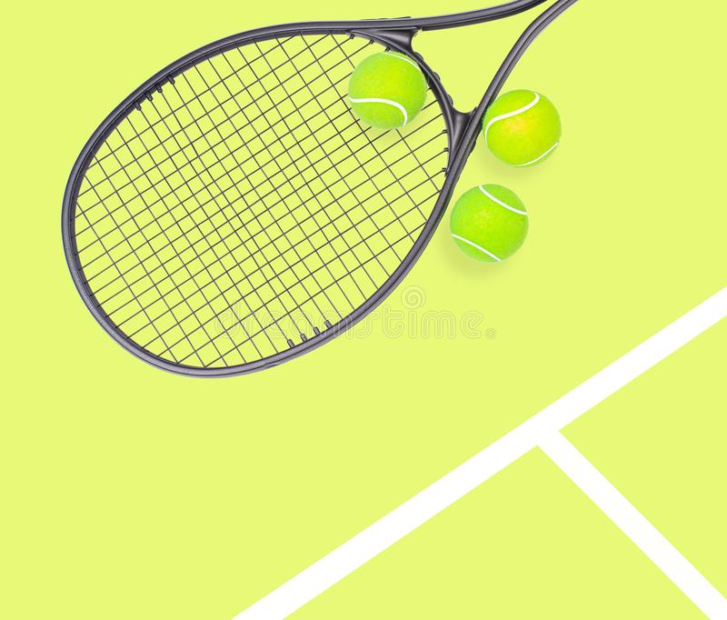 Tennis racket and ball sports on pastel background. Tennis racket and ball sports on pastel yellow background royalty free stock photos