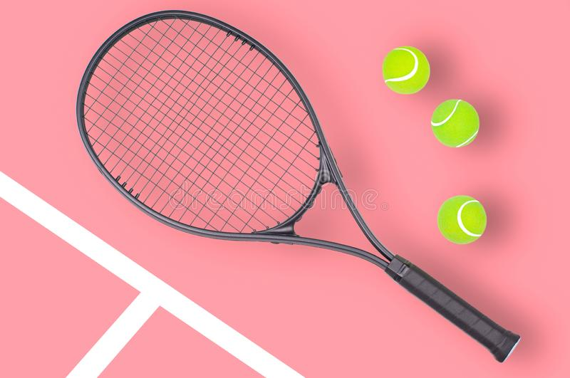 Tennis racket and ball sports on pink background. Tennis racket and ball sports on pastel pink background royalty free stock photos