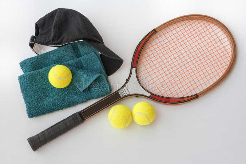 Tennis Racket With Balls Cap And Towel Stock Photos
