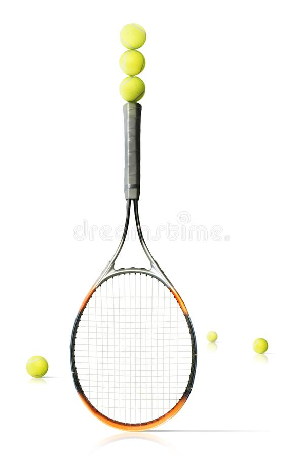 Tennis racket and balls isolated the white background royalty free stock photography