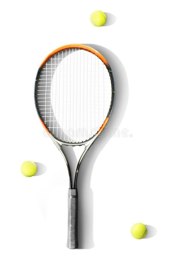 Tennis. Tennis racket and balls the white background. Isolated stock image