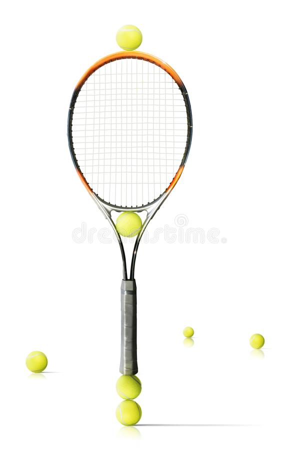 Tennis racket and balls is the white background royalty free stock images