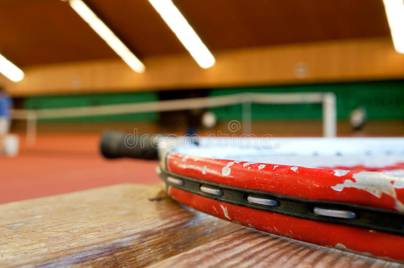 Download Tennis racket on bench stock image. Image of wood, center - 22012235