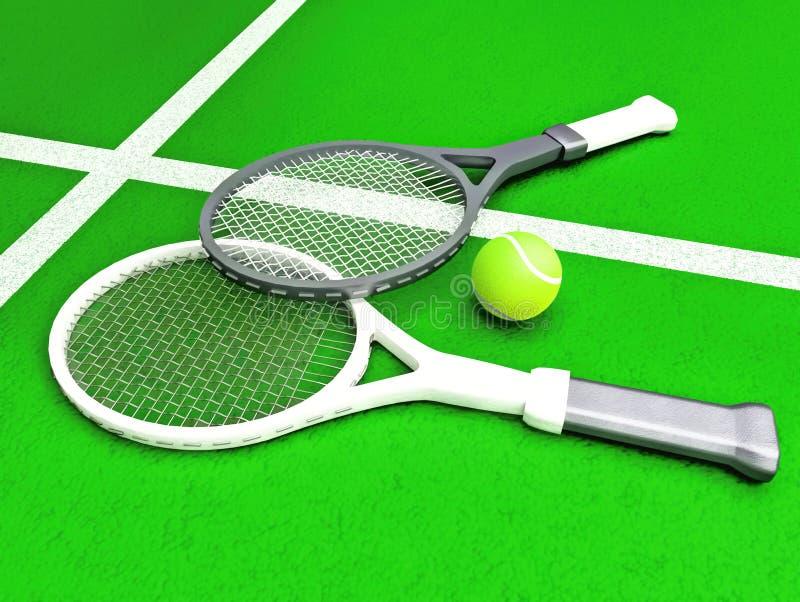 Tennis; racket; domstol Tennisracket och tennisbollen lokaliseras på tennisbanan royaltyfri foto