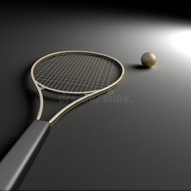 Download Tennis Racket With Golden Ball Stock Illustration - Image: 9796737