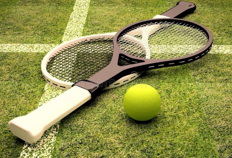 Tennis; racket; sfär; domstol; gräsplan; gräs; markera royaltyfri bild