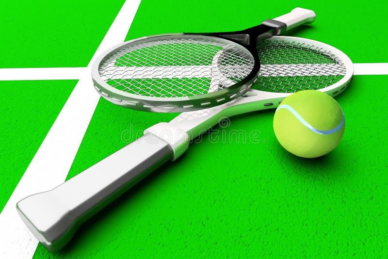 Tennis; racket; sfär; domstol; lek; gräsplan arkivbild