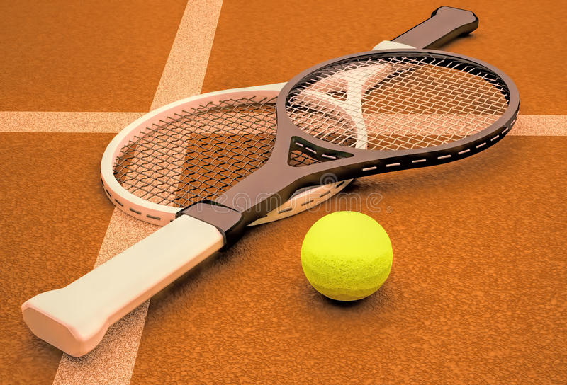 Tennis; racket; sfär; domstol; lek; jordning royaltyfri fotografi