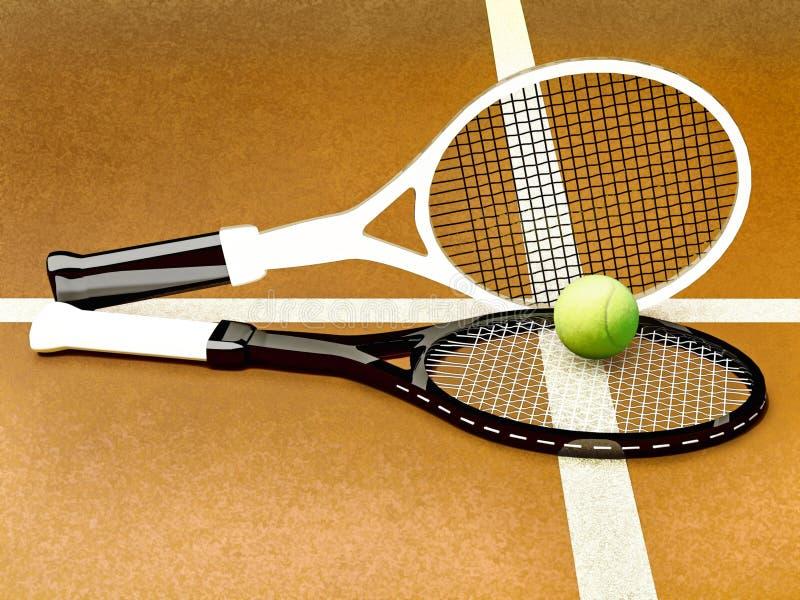 Tennis; racket; sfär; domstol; lek; jordning royaltyfri foto