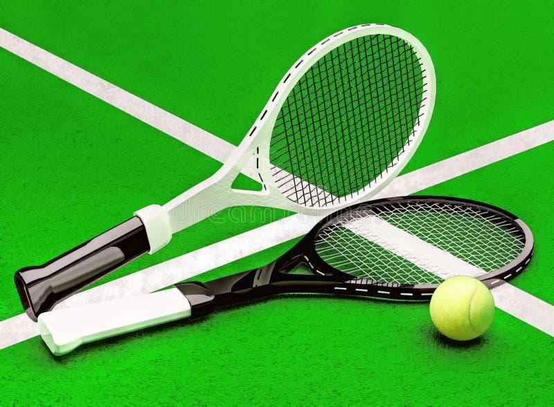 Tennis; racket; sfär; domstol Tennisracket och tennisbollen lokaliseras på tennisbanan royaltyfri foto