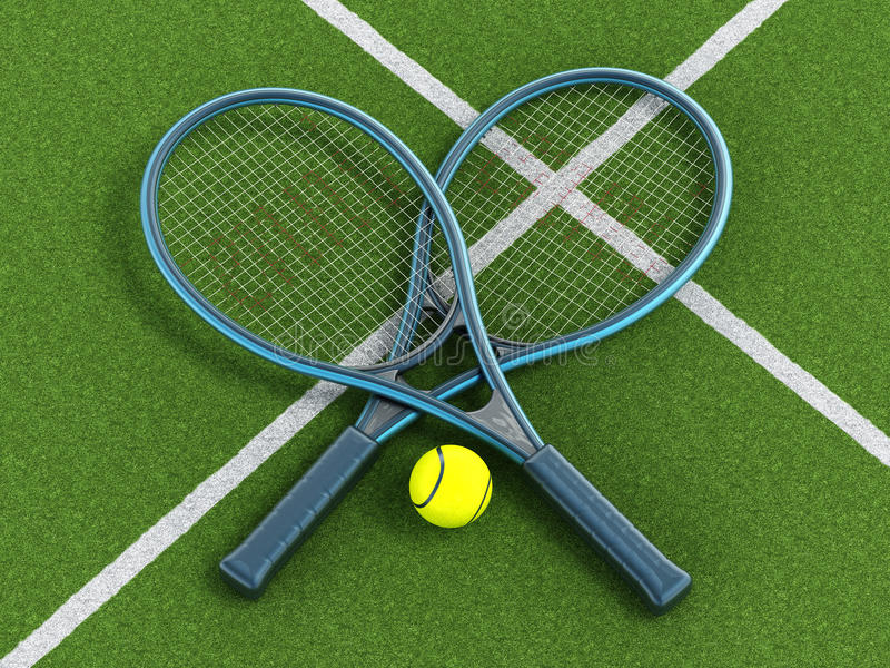Tennis rackets and ball on grass court royalty free stock images