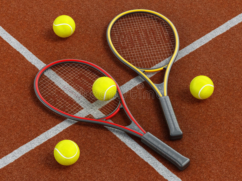 Tennis rackets and ball on hard court stock image