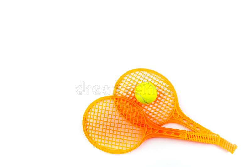 Tennis rackets and ball , isolated on white. Top view with copy space. royalty free stock photo