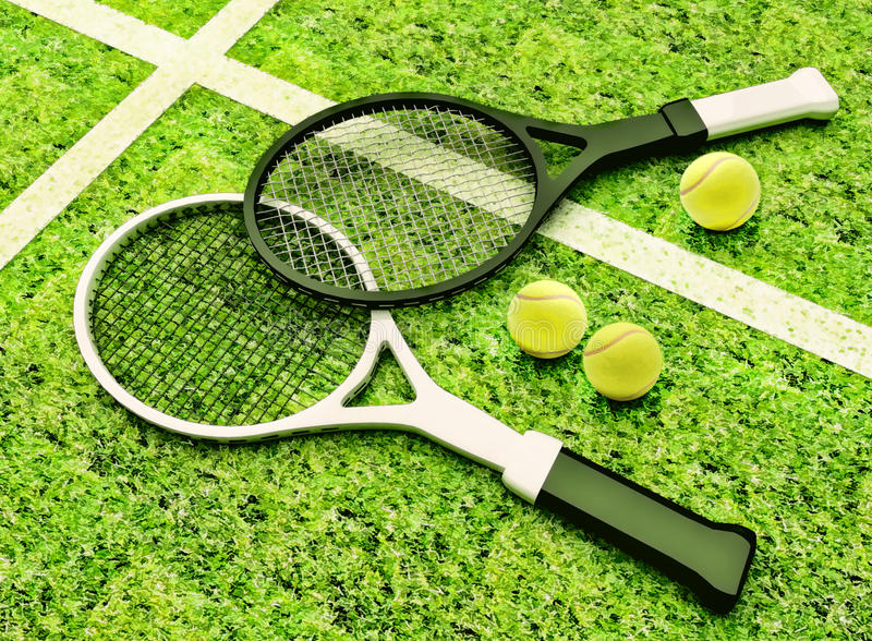 Tennis rackets and balls are located against the background of grass court. stock photography