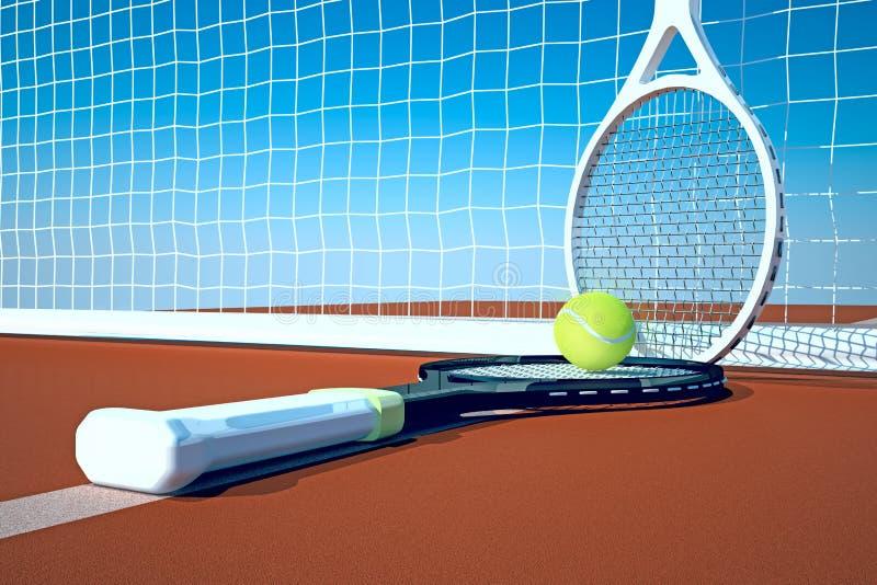 Tennis; rackets; gebied; hof royalty-vrije illustratie