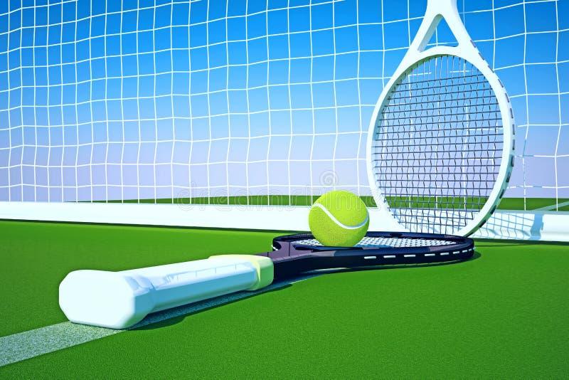 Tennis; rackets; gebied; hof stock illustratie