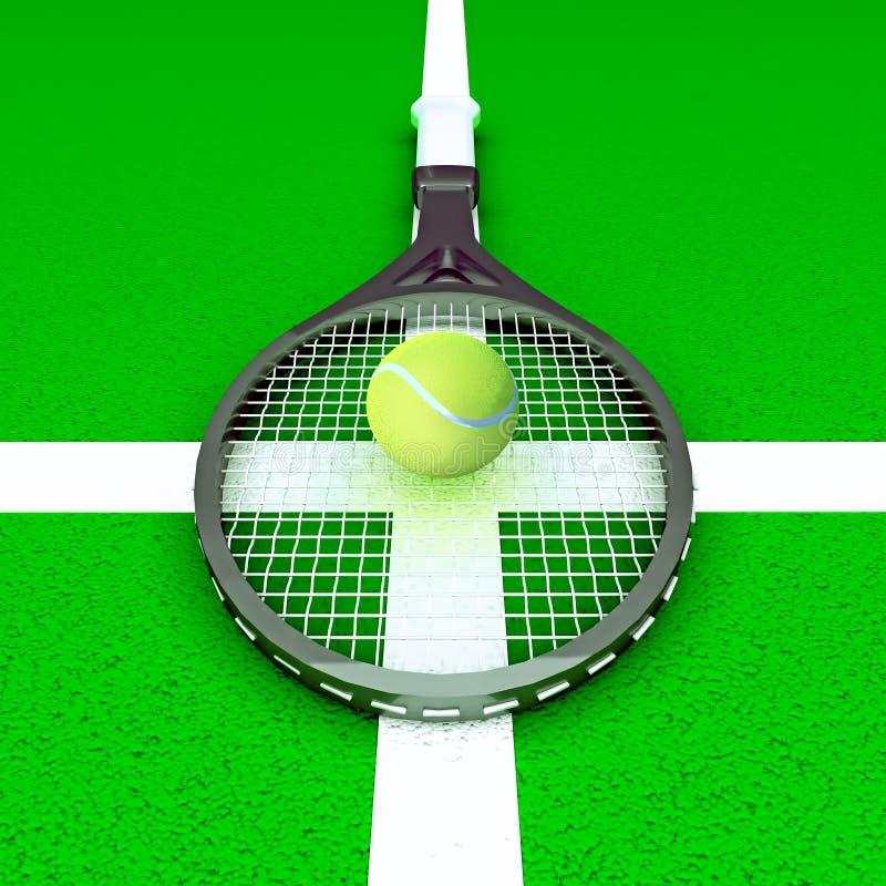 Tennis; rackets; gebied; hof; spel; groen stock illustratie