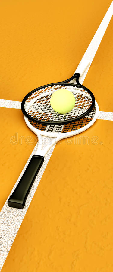 Tennis; rackets; gebied; hof; spel; grond vector illustratie