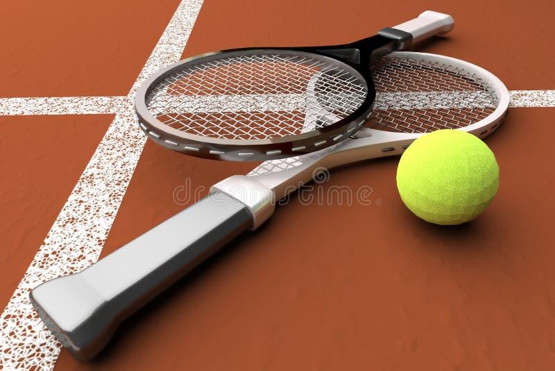 Tennis; rackets; gebied; hof; spel; grond stock illustratie
