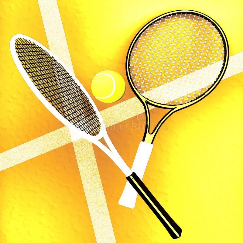 Tennis; rackets; gebied; hof; spel; grond royalty-vrije illustratie