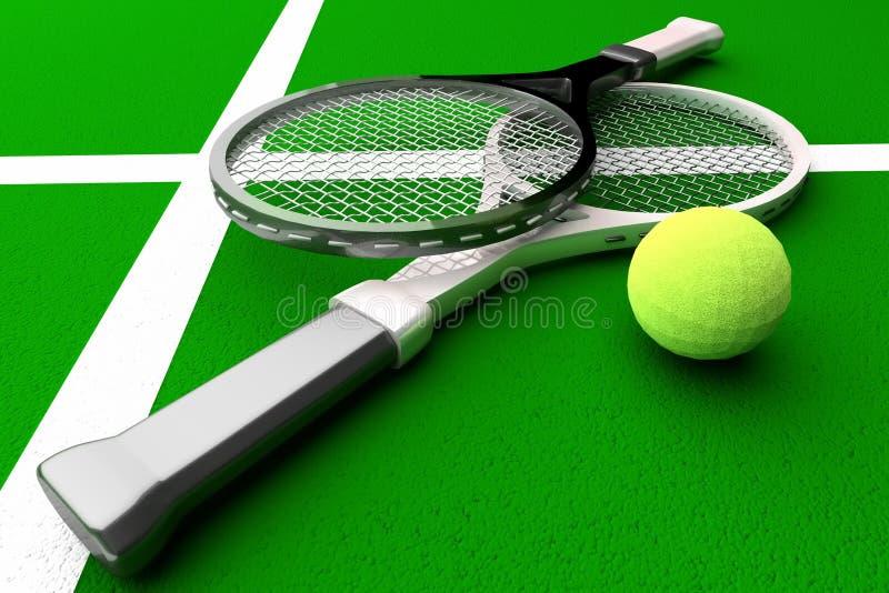 Tennis; rackets; hof stock illustratie