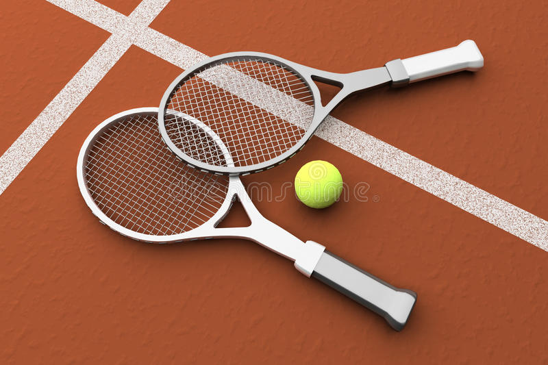 Tennis; rackets; hof, grond royalty-vrije illustratie