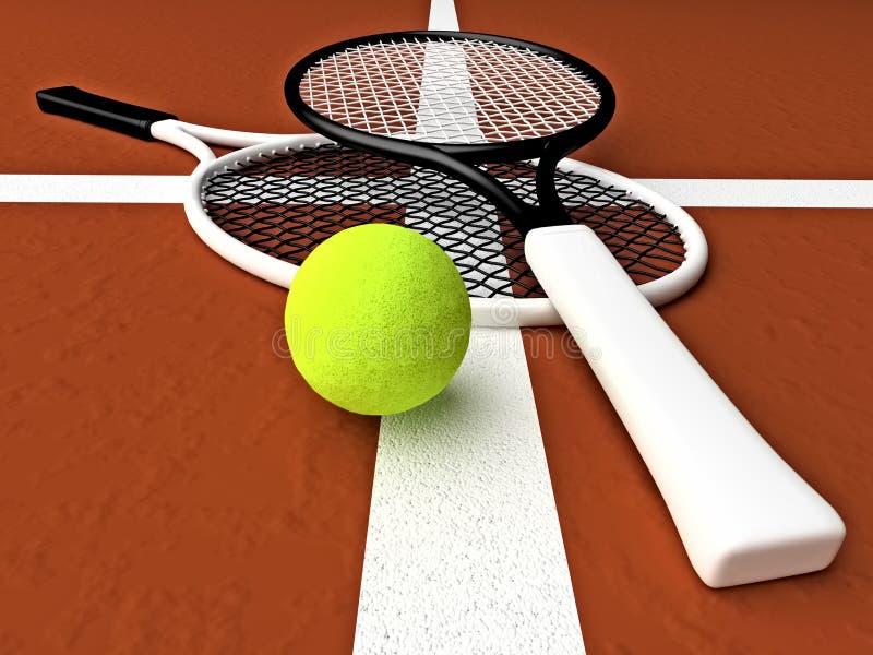 Tennis; rackets; hof, grond vector illustratie
