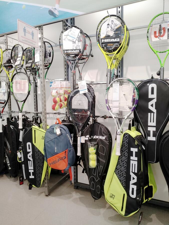 Tennis rackets sold at a sports store royalty free stock photos