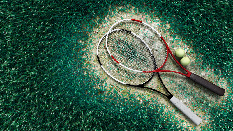 Download Tennis Racquet And Tennis Balls On The Tennis Cour Stock Illustration - Illustration of tennis, tools: 26351801