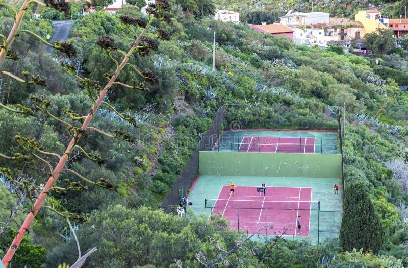 Tennis-rechtbanken in Las Palmas de Gran Canaria, Spanje royalty-vrije stock afbeeldingen