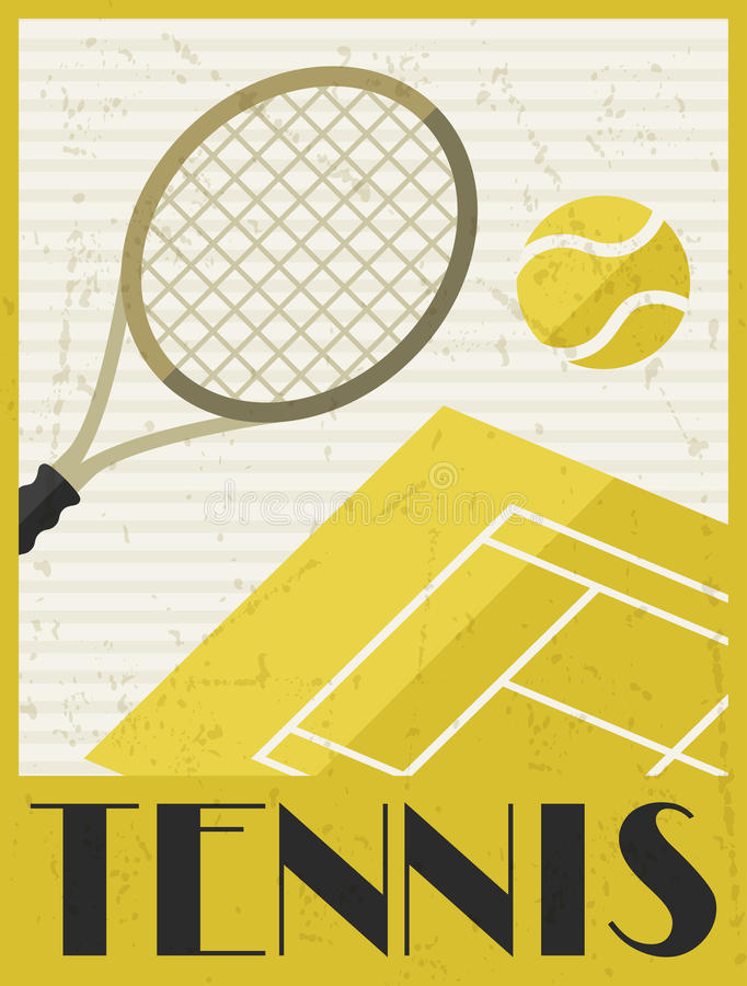 Download Tennis. Retro Poster In Flat Design Style Stock Photo - Image of advertise, trendy: 51219642