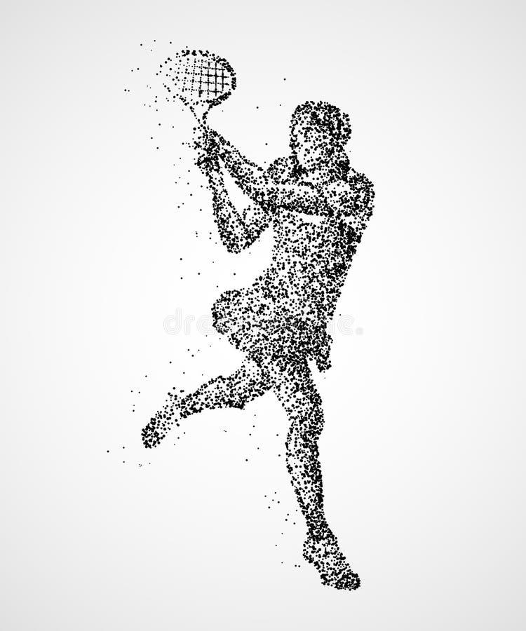Tennis, samenvatting, speler vector illustratie