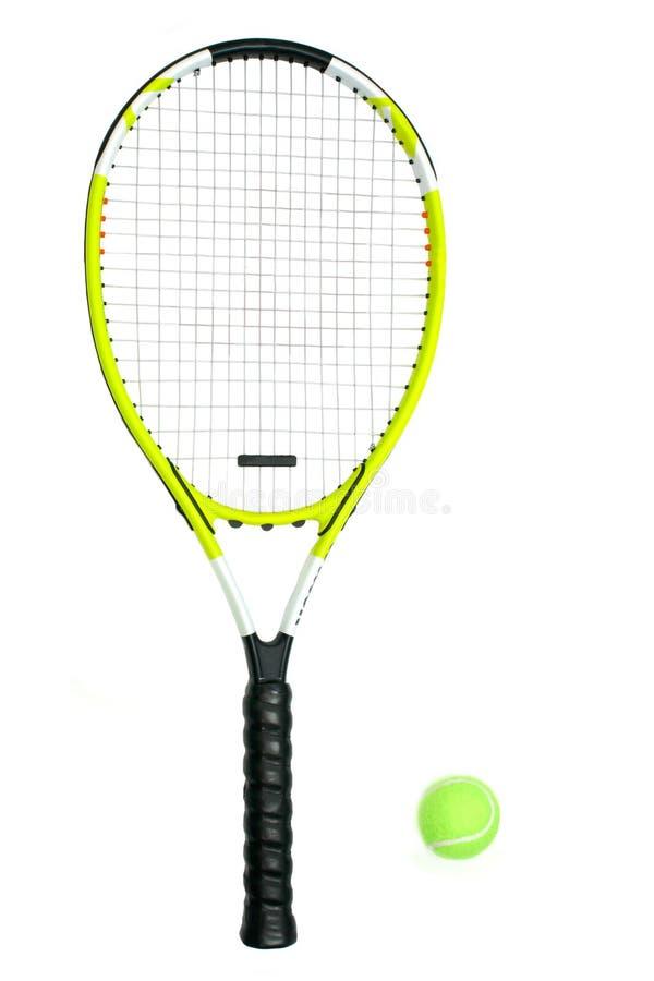 Tennis-Schläger und Kugel lizenzfreie stockfotografie