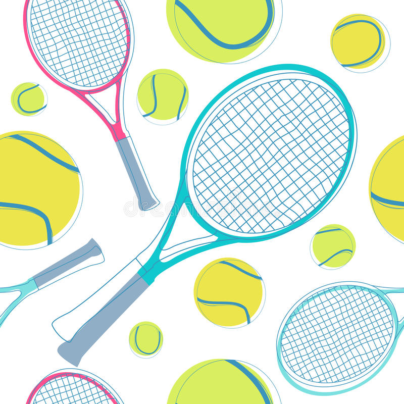 Tennis seamless pattern vector illustration