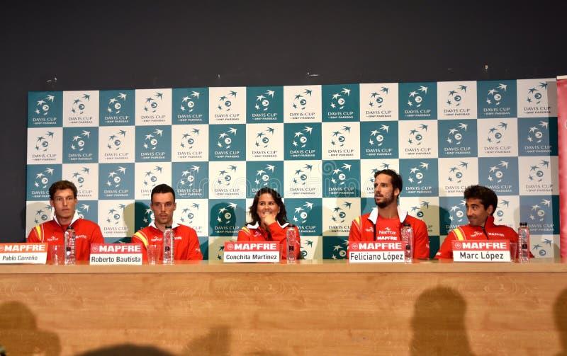 Tennis spagnoli durante la conferenza stampa di Davis Cup immagini stock libere da diritti