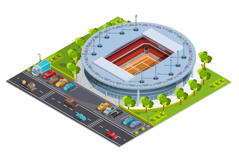Tennis sport complex with open court stadium isometric Banner. Tennis sport complex with open court stadium for championships training and matches isometric royalty free illustration
