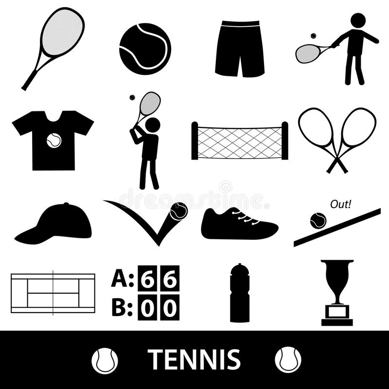 Tennis sport theme black icons set vector illustration