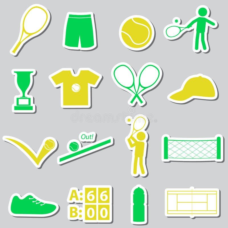 Tennis sport theme color stickers set eps10. Tennis sport theme color stickers set stock illustration