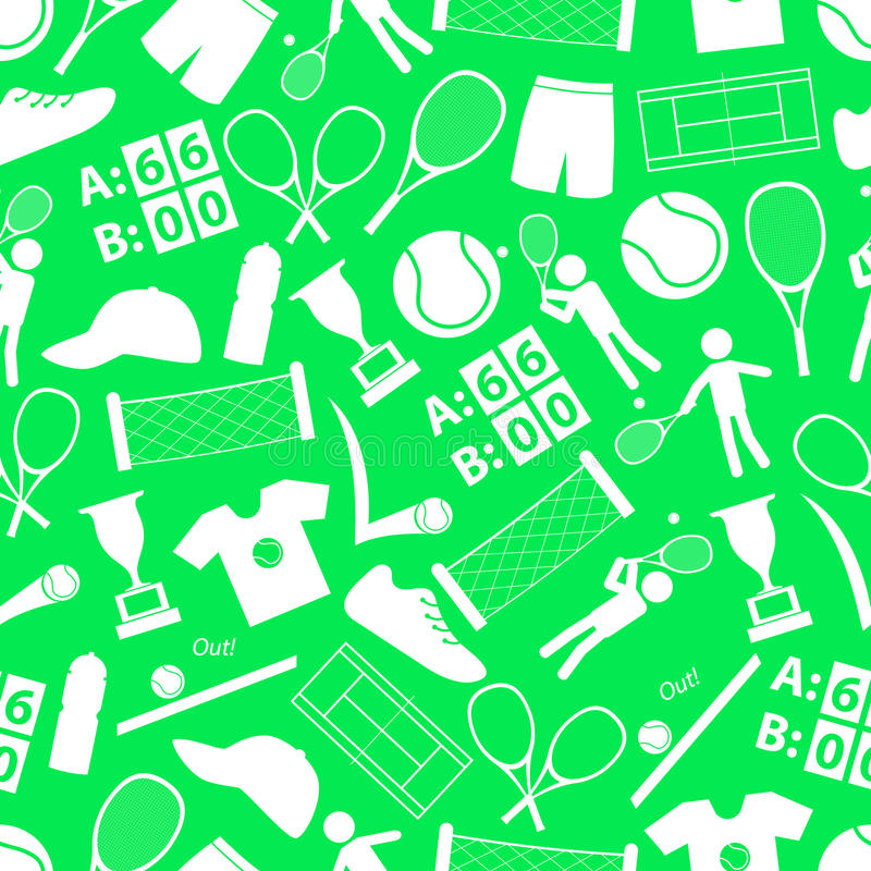 Tennis sport theme. White and green seamless pattern vector illustration