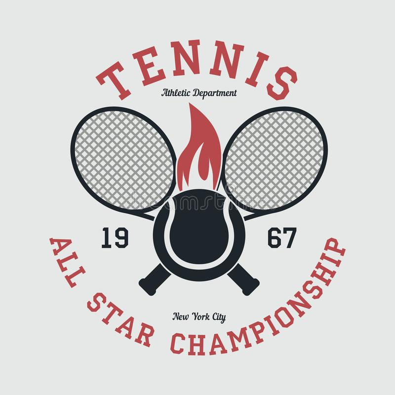 Tennis sports apparel with racket and fiery ball. New York all star championship. Typography emblem for t-shirt. Vector. royalty free illustration